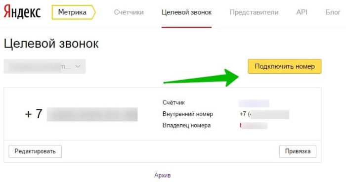 Целевой звонок Яндекса